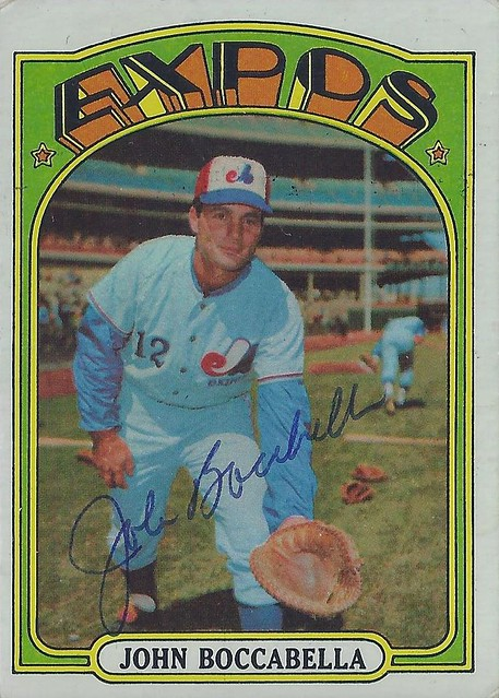 1972 Topps - John Boccabella #159 (Catcher / First Base) - Autographed Baseball Card (Montreal Expos)