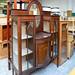 Ornate mahogany glass display unit E295