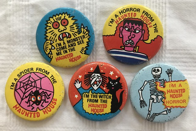 Vintage 70's UK Lyons Maid Haunted House Ice Cream Pins Buttons Pin Backs Ice Lollies