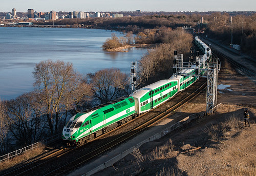 go transit got hamilton ontario on canada bayview junction train trains passenger cn canadian national skyline city sunset sun set