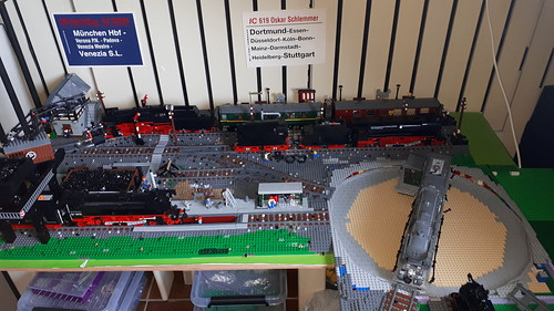 Current look of the Lego Bahnbetriebswerk NeuKirche. Still so much to build! Everything will be moved into storage to make easyer exces for building the turntable and the next project. Everything will be on display at BrickKing saterday Juli 7.  Hoe Bahnb | by Enrico7675