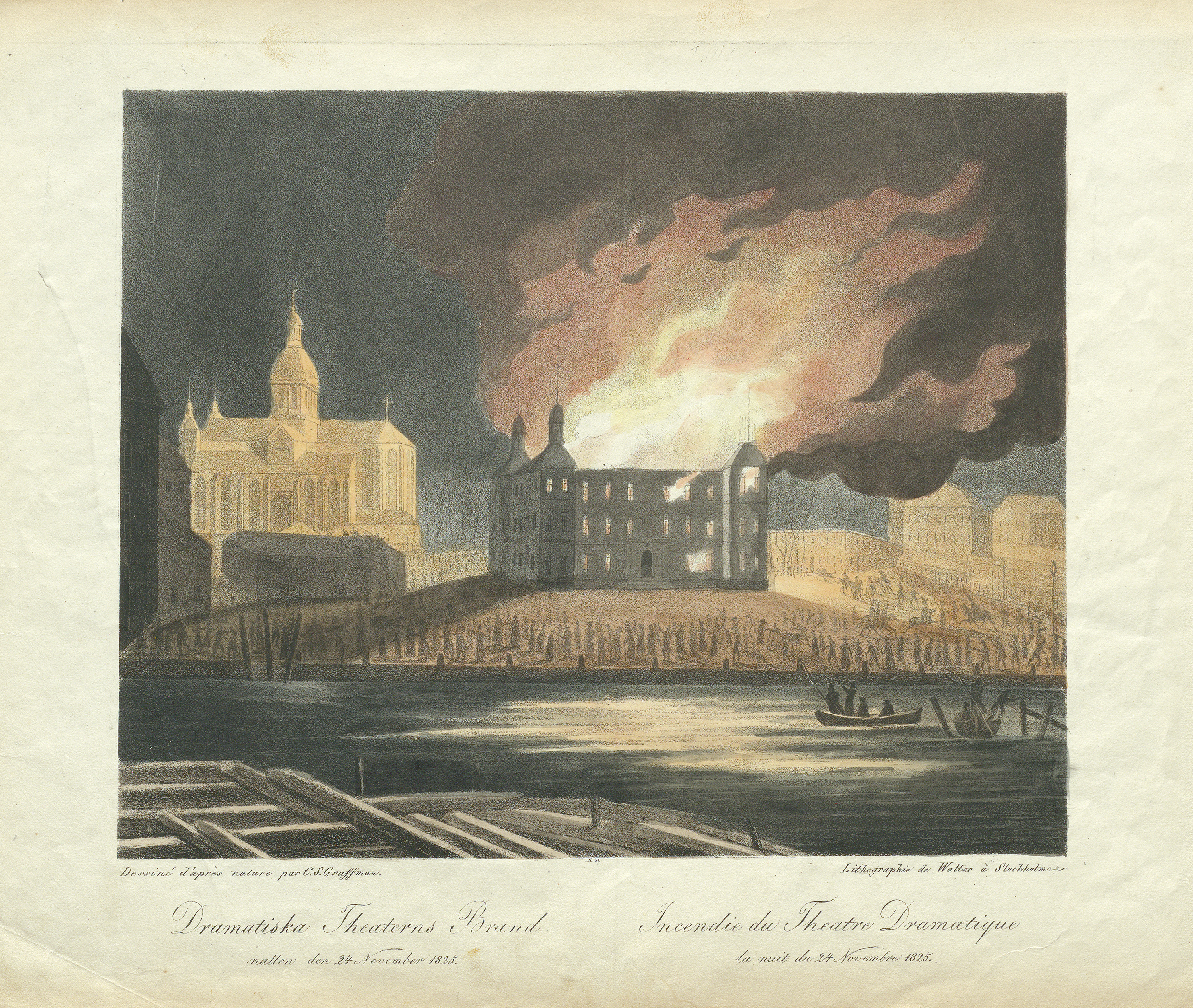 Fire of the Makalös (Matchless) Palace, Stockholm, Uppland, Sweden