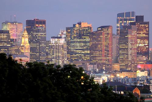 boston ma massachusetts june summer city downtown evening dusk light urban