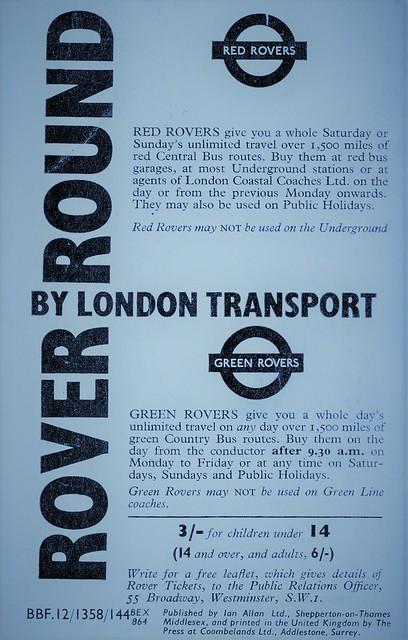 London transport 1964 Red & Green Rover ticket advert.