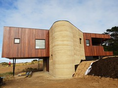 rammed earth curved wall
