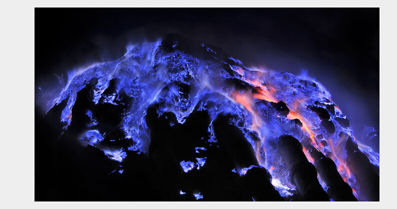 Volcano spews blue lava