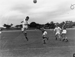 Queensland plays New South Wales in a soccer match at The 'Gabba, 1950