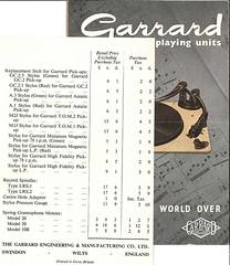 Garrard Brochure 1954 Price List a