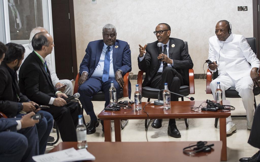 President Kagame, President Alpha Condé of Guinea and AU C
