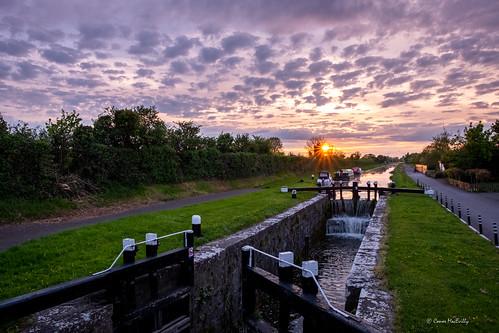 sunset water reflection royal canal greenway royalcanal kilcock kildare ireland lock gate boats landscape sky clouds cloudporn