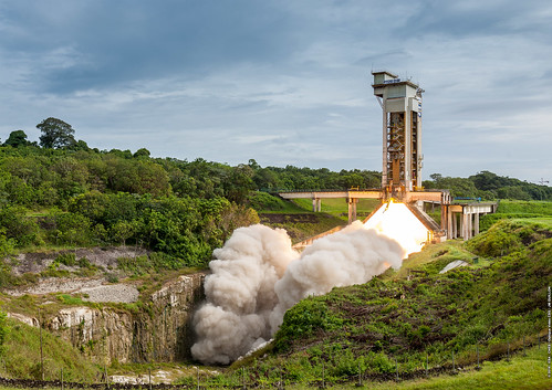 esa europeanspaceagency space universe cosmos spacescience science spacetechnology tech technology cnes p120c vegac ariane6 launchtest rocketmotor engineering frenchguiana fire booster europesspaceport