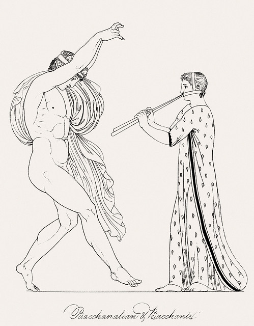 Bacchanalian & bacchante from An illustration of the Egyptian, Grecian and Roman costumes by Thomas Baxter (1782-1821).Digitally enhanced by rawpixel.