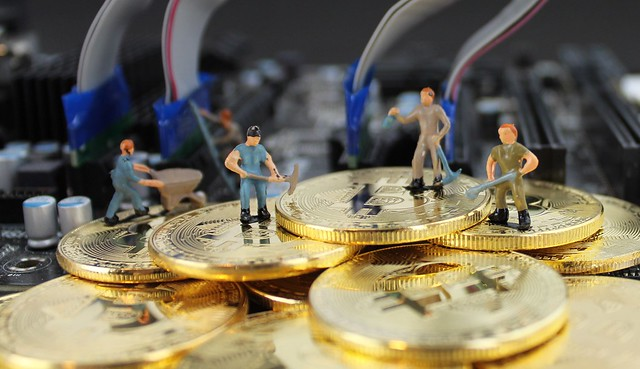 Cryptocurrency Mining, Bitcoin mining stock photo