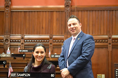 Rep. Sampson with a constituent during a visit to the state Capitol.