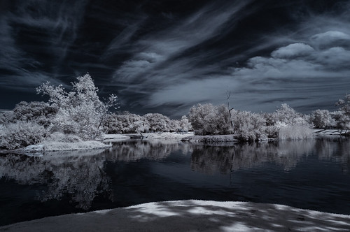 infrared infraredphotography ir convertedinfraredcamera santeelakes clouds channelswapping trees reflections