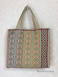 Circle and Cross Motif Striped Tote Bag 002 | by Beelationship Embroidery Studio