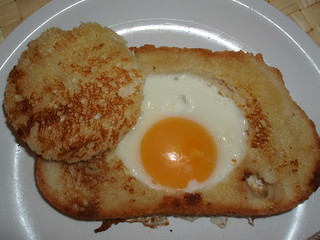 Egg in a rustic basket