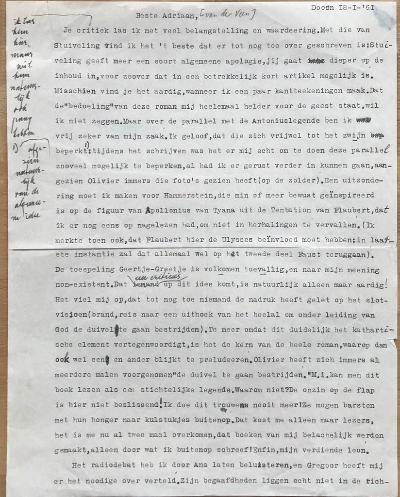Brief Van Vestdijk Aan Adriaan Van Der Veen Kant 12 Flickr