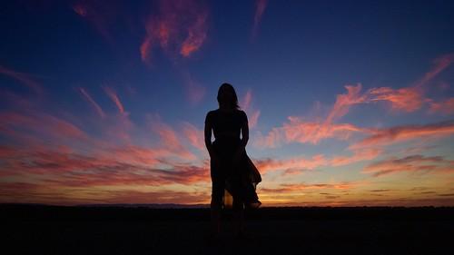 dusk evening female girl model pretty silhouette sunset twilight woman