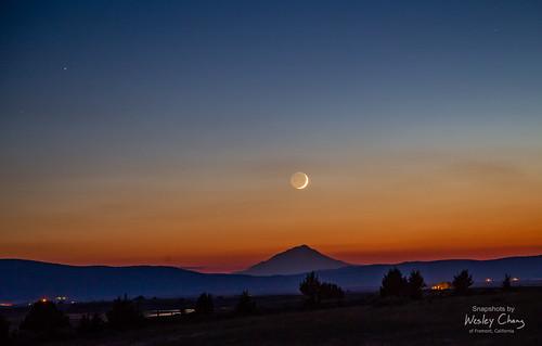 Crescent moonset over Mt. Shasta