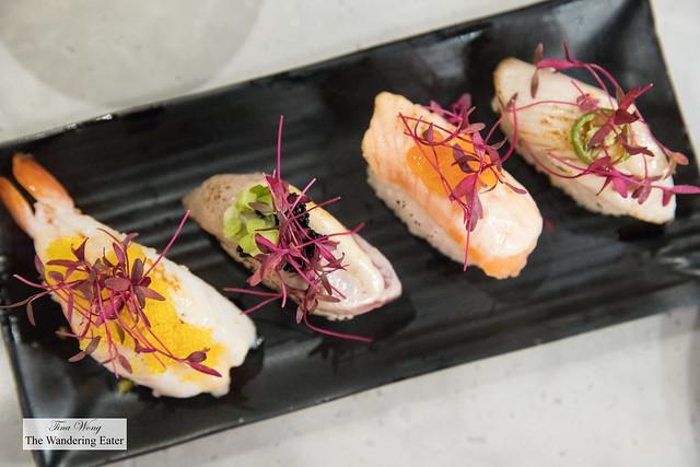 Aburi sushi - Shrimp, salmon, tuna and yellowtail