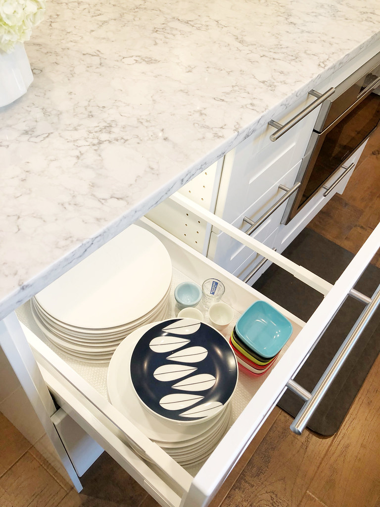 Inside the kitchen island drawers