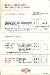 Garrard Brochure 1953 Prices