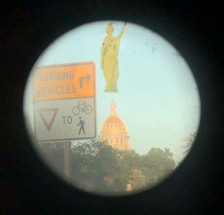 14th St. overlay through public scope: originally planned Justice statue atop Colorado state capitol | by jntolva