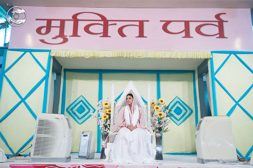 Her Holiness Satguru Mata Sudiksha Ji Maharaj on the dais
