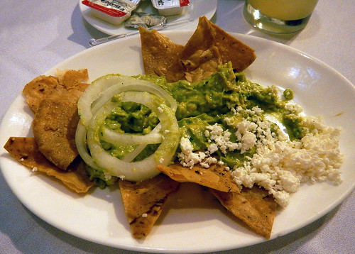 Totopes with guacamole in Cafe Tacuba, one of the oldest restaurants in Mexico City