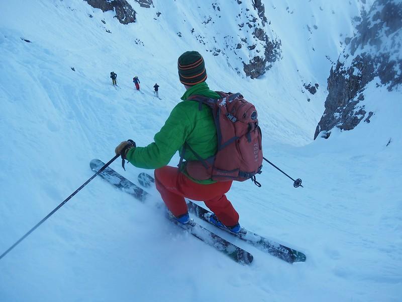 Classic terrain in Courchevel. Skier: Jim Savege