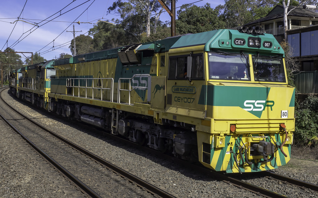 SSR Southern Shorthaul Railroad loco CEY007 named Lake Macquarie leading CEY004 named Kandos and CEY006 named Fassifern as ER04 hauling coal from Eraring to Newcastle