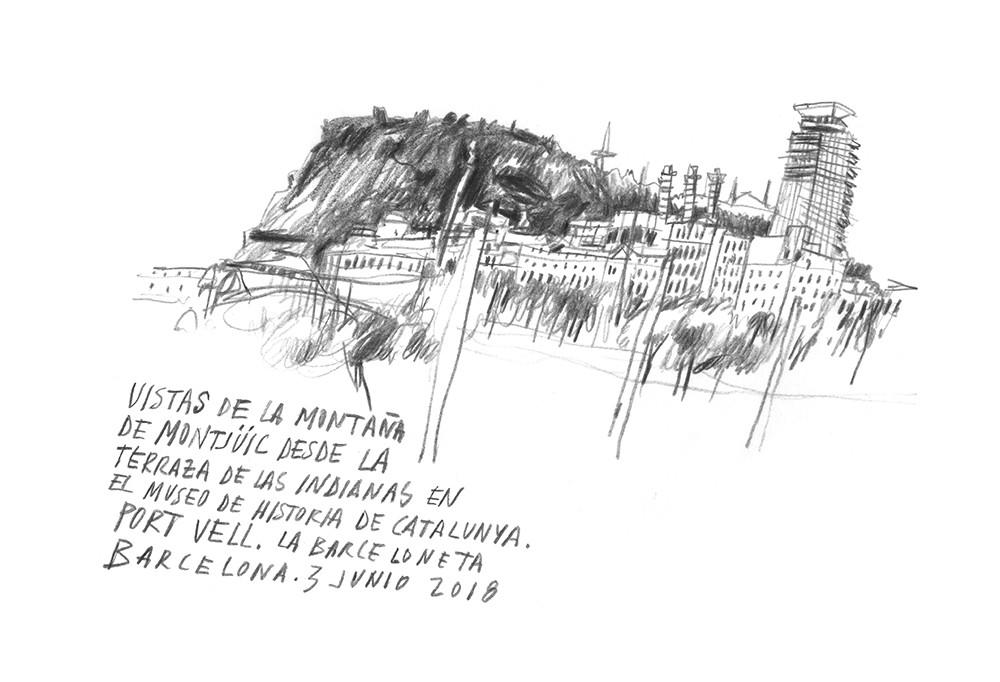 Santi Salles Ilustracion Vistas De Montjuic Santi Sallés