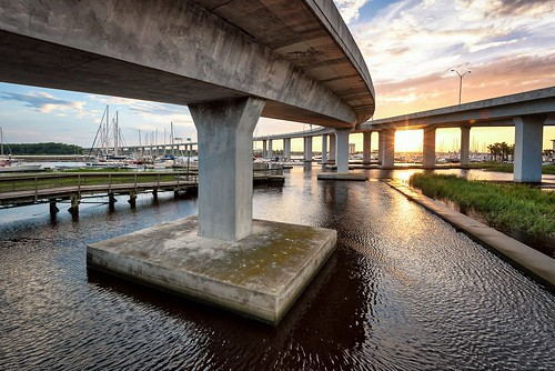 downtowncharleston southcarolina ashleyriver marina sunset sunrise charleston lockwoodblvd overpass