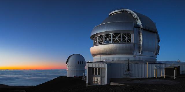Gemini Observatory with Canada Hawaii France telescope at twilight
