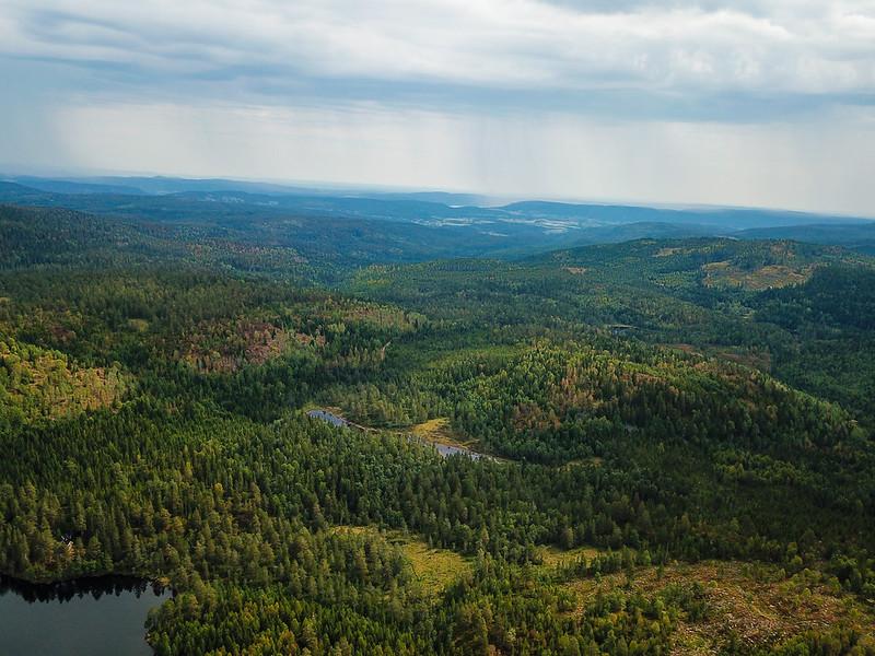 36-Utsikt mot Skoger fra Langetjern (drone)