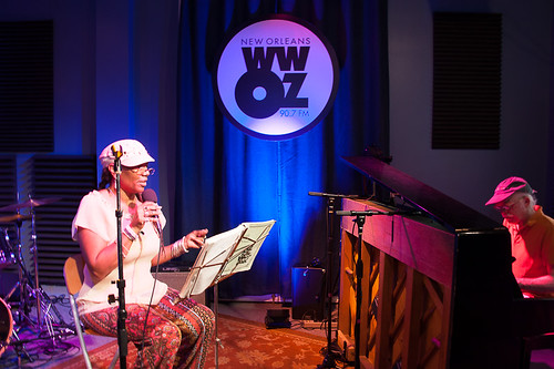 Charmaine Neville and Amasa Miller at WWOZ for Satchmo SummerFest preview week - July 31, 2018. Photo by Michael E. McAndrew.