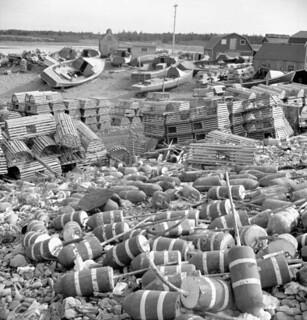 Lobster pots and markers on shore, Sandford, Yarmouth County, Nova Scotia / Casiers à homard et balises flottantes sur le rivage, Sandford, Yarmouth (Nouvelle-Écosse)