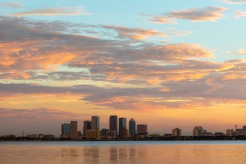 ballastpointpark florida skyline sunrise tampa unitedstates us