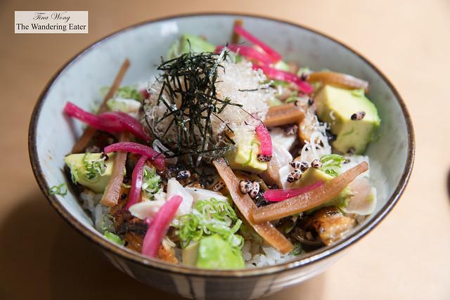 Umami Don - Grilled unagi, pickled daikon, avocado, and ginger-kurozu sauce