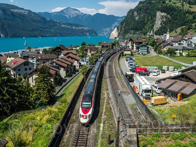 SBB Railroad Train on Lake Uri, Sisikon, Canton of Uri, Switzerland