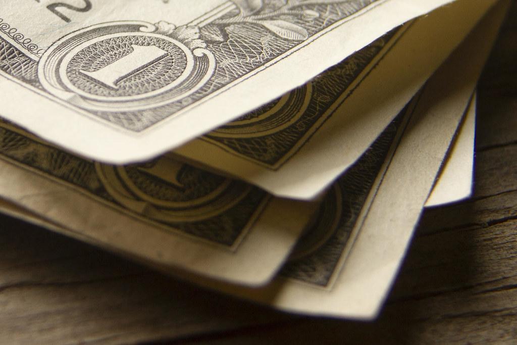 Corner perspective stack of dollar bills