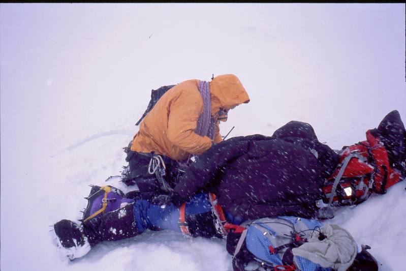 Rescue 2: finding the injured and deeply hypothermic Korean climber at 19000 feet. Photo: Neil McNab