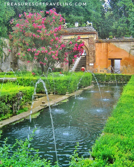 The beautiful gardens of the Alhambra! A palace and fortress complex located in Granada, Spain. The architecture, the gardens and the backdrop of the Sierra Nevada Mountains in the background make this fortress a Spanish treasure! This is just one of the