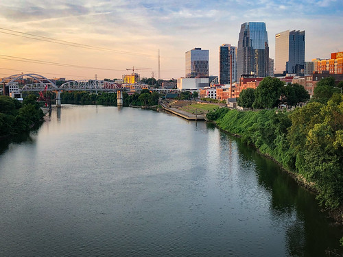 nashville tennessee skyline sunrise cumberland river downtown