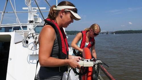 Photo of DNR crew on a Chesapeake Bay monitoring cruise