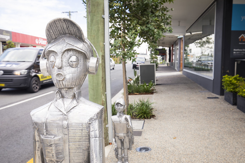 Public art in Village Precinct Projects - Alderley - Terry Summer Dad and Boy Sculpture