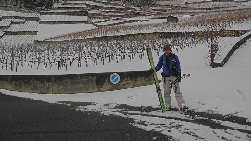 On very rare occasions, we can ski all the way down to the Rhone valley, finishing in the vineyards. Thanks to my colleague Julie Ann Clyma for the photo.