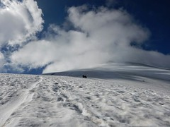 Looking up to the summit of Villarrica volcano
