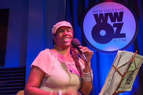 Charmaine Neville at WWOZ for Satchmo SummerFest preview week - July 31, 2018. Photo by Michael E. McAndrew.